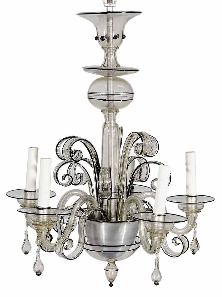 Venetian Art Deco Style Glass Five-Light Hanging Fixtur