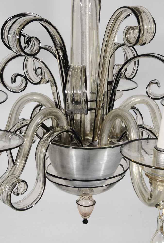Venetian Art Deco Style Glass Five-Light Hanging Fixtur - 3