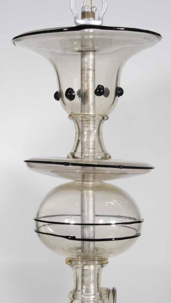 Venetian Art Deco Style Glass Five-Light Hanging Fixtur - 4