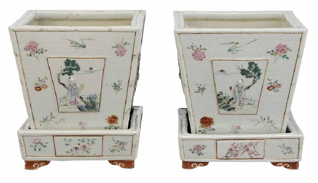 Pair Famille Rose Porcelain Cachepots
