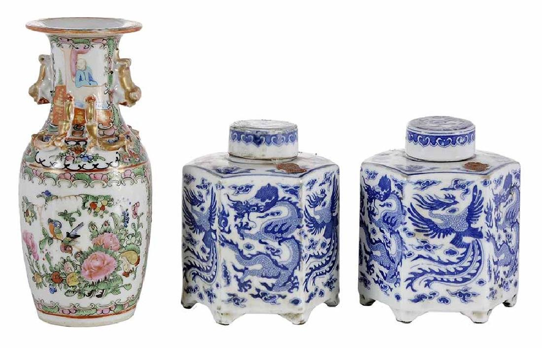 Pair Blue and White Porcelain Tea