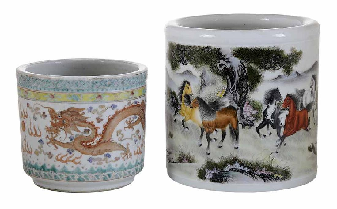 Two Asian Cylindrical Porcelain