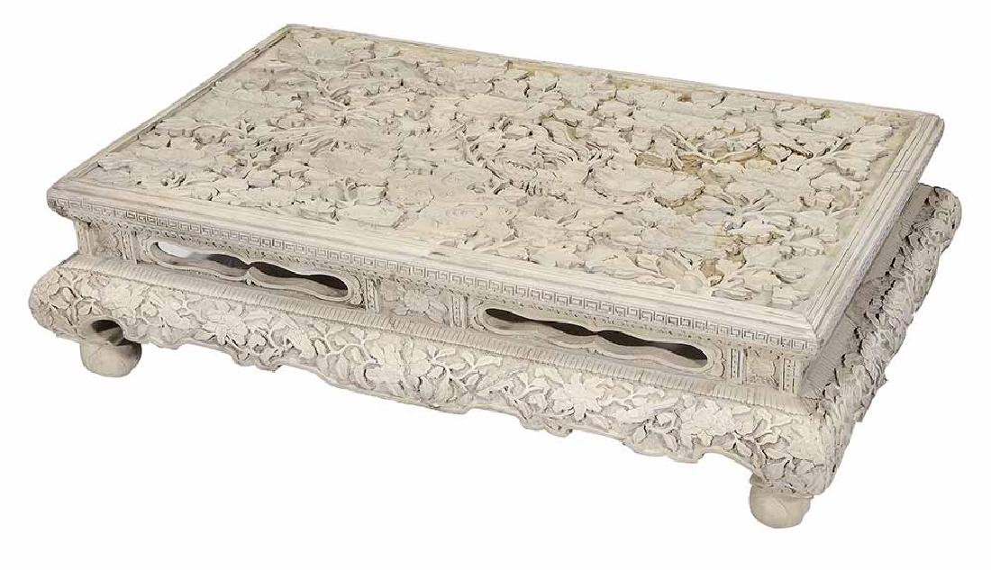Carved White Cinnabar Low Table