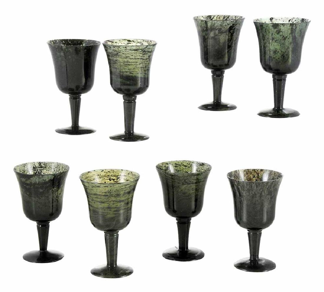 Set of Eight Carved Jasper Wine Cups