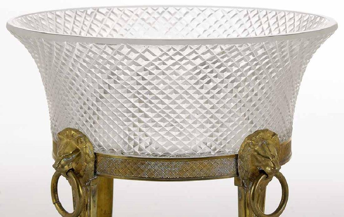 Empire Cut Glass Bowl on Bronze Stand - 2