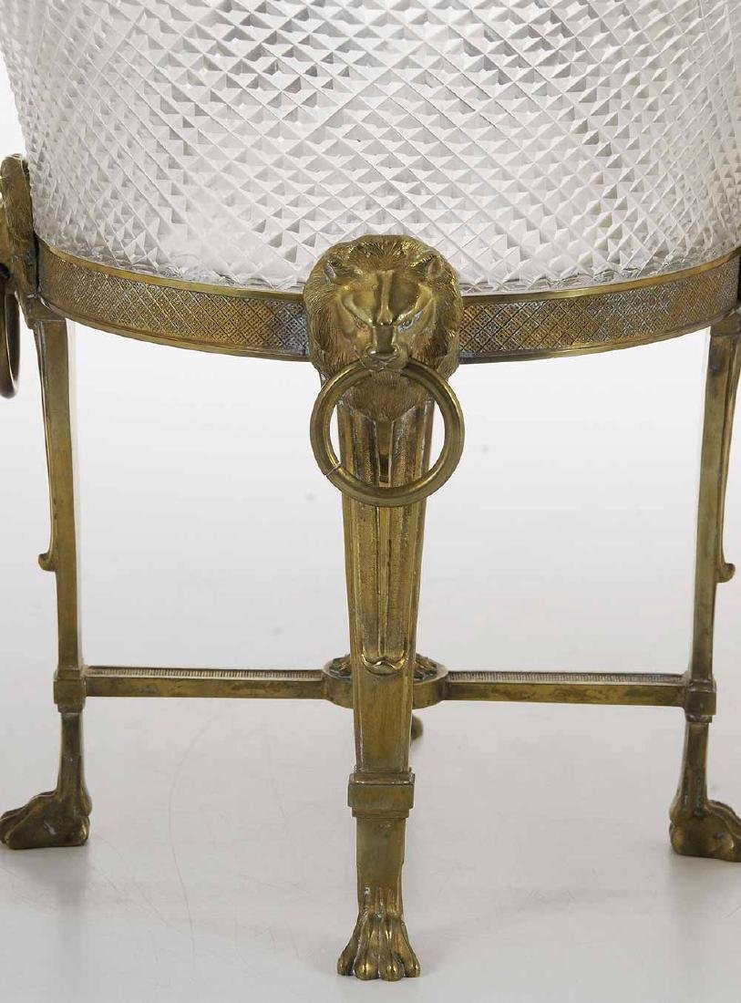 Empire Cut Glass Bowl on Bronze Stand - 3