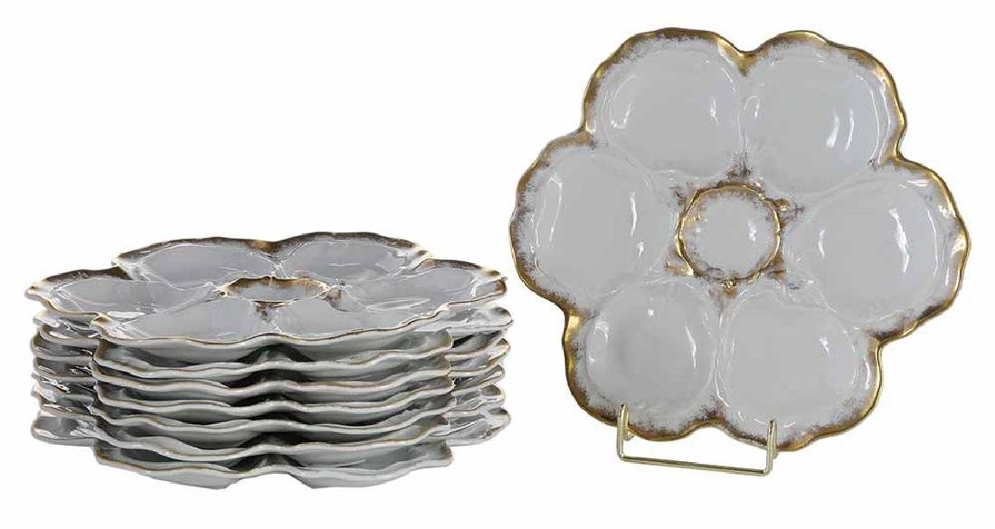 Set of Eight Limoges Oyster Plates