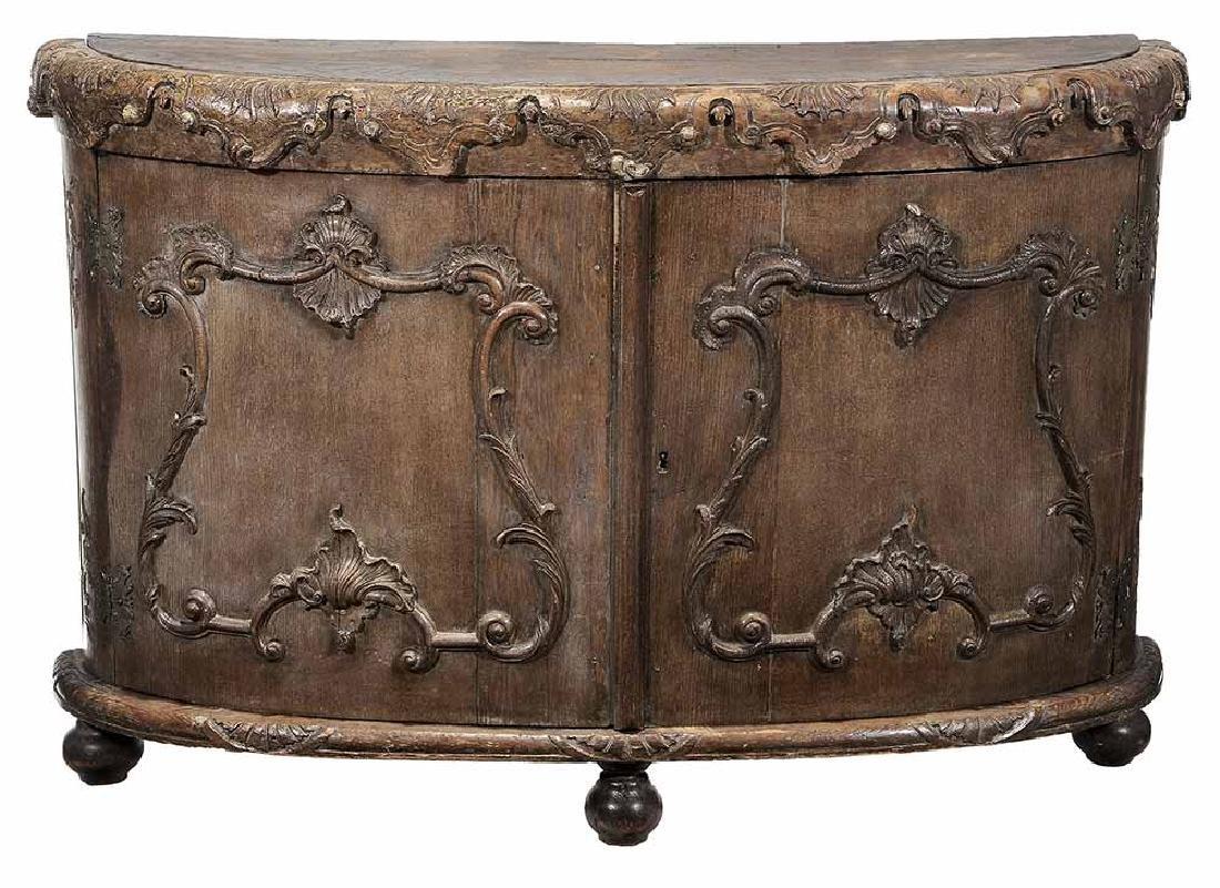 Continental Rococo Carved Demilune