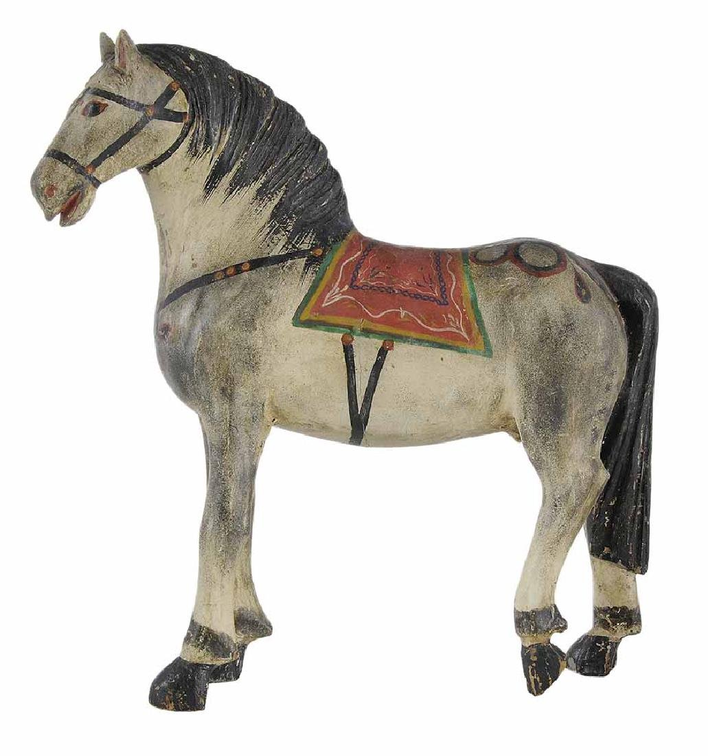 Finely Carved and Painted Wooden Horse