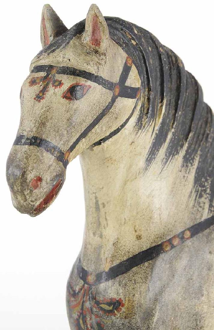 Finely Carved and Painted Wooden Horse - 2
