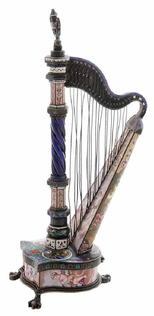 Viennese Enamel Silver Harp-Form Clock