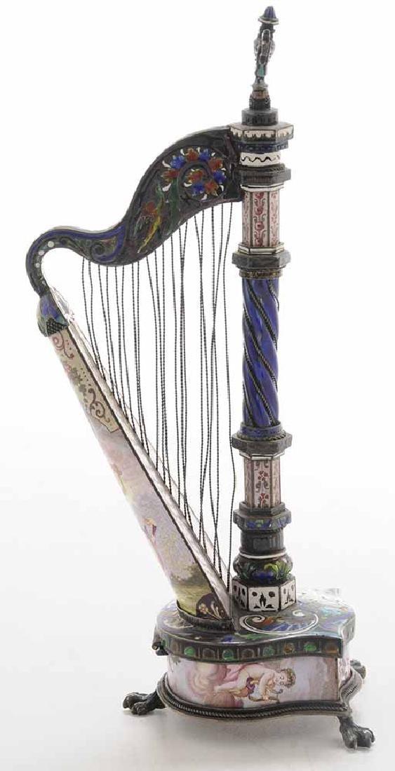 Viennese Enamel Silver Harp-Form Clock - 2