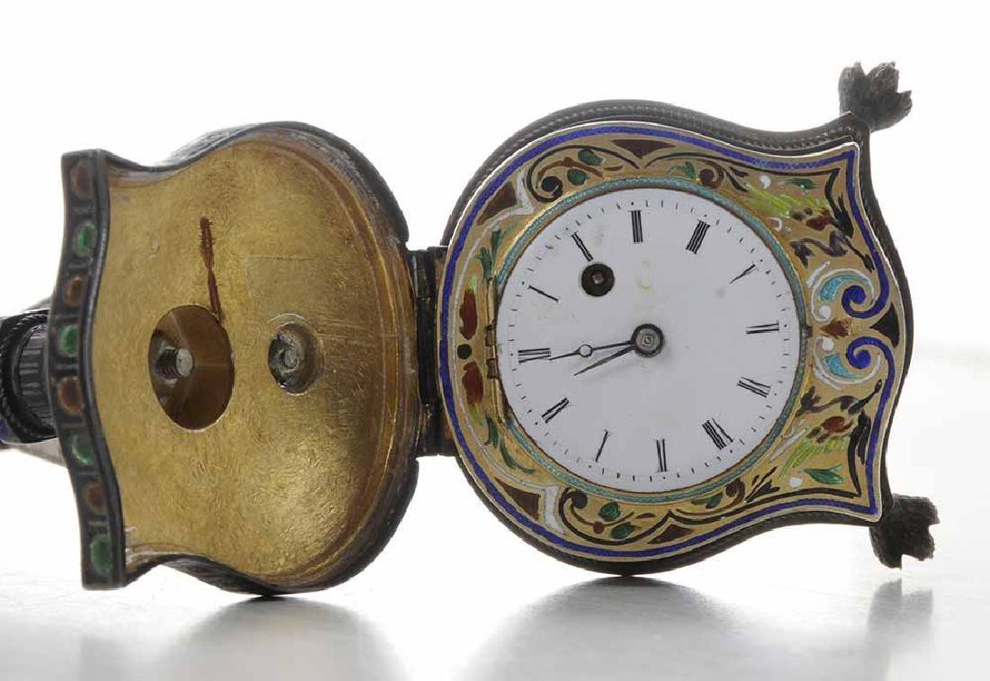 Viennese Enamel Silver Harp-Form Clock - 3