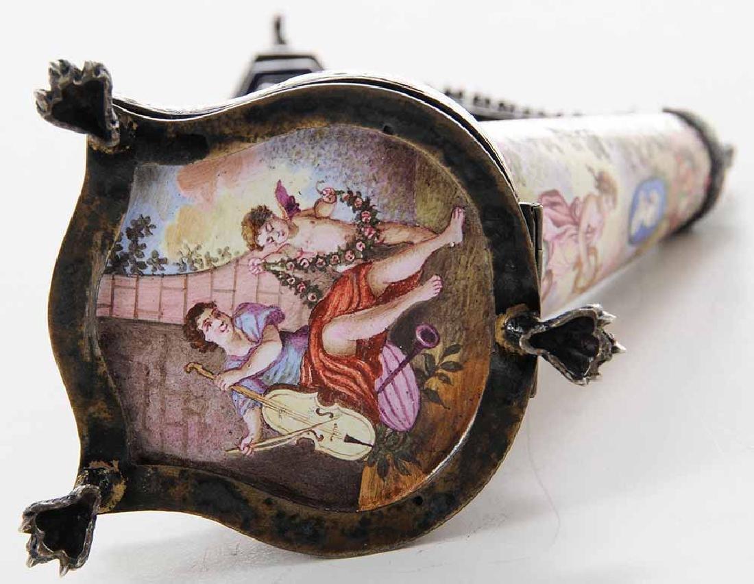 Viennese Enamel Silver Harp-Form Clock - 5