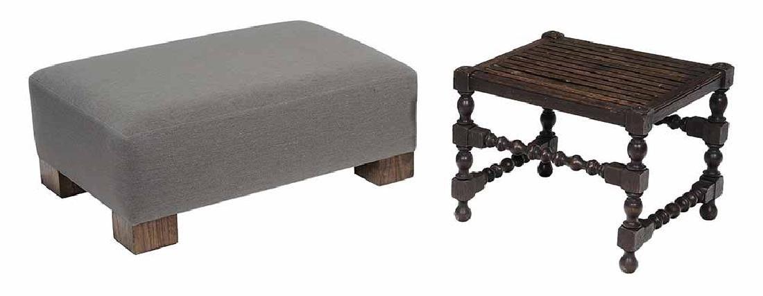 Walnut-Veneered and Upholstered