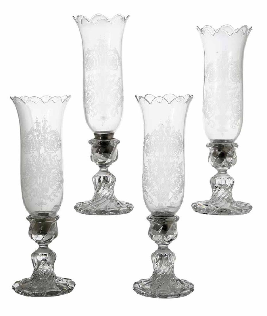 Four Baccarat Candlesticks with Hurrican Globes