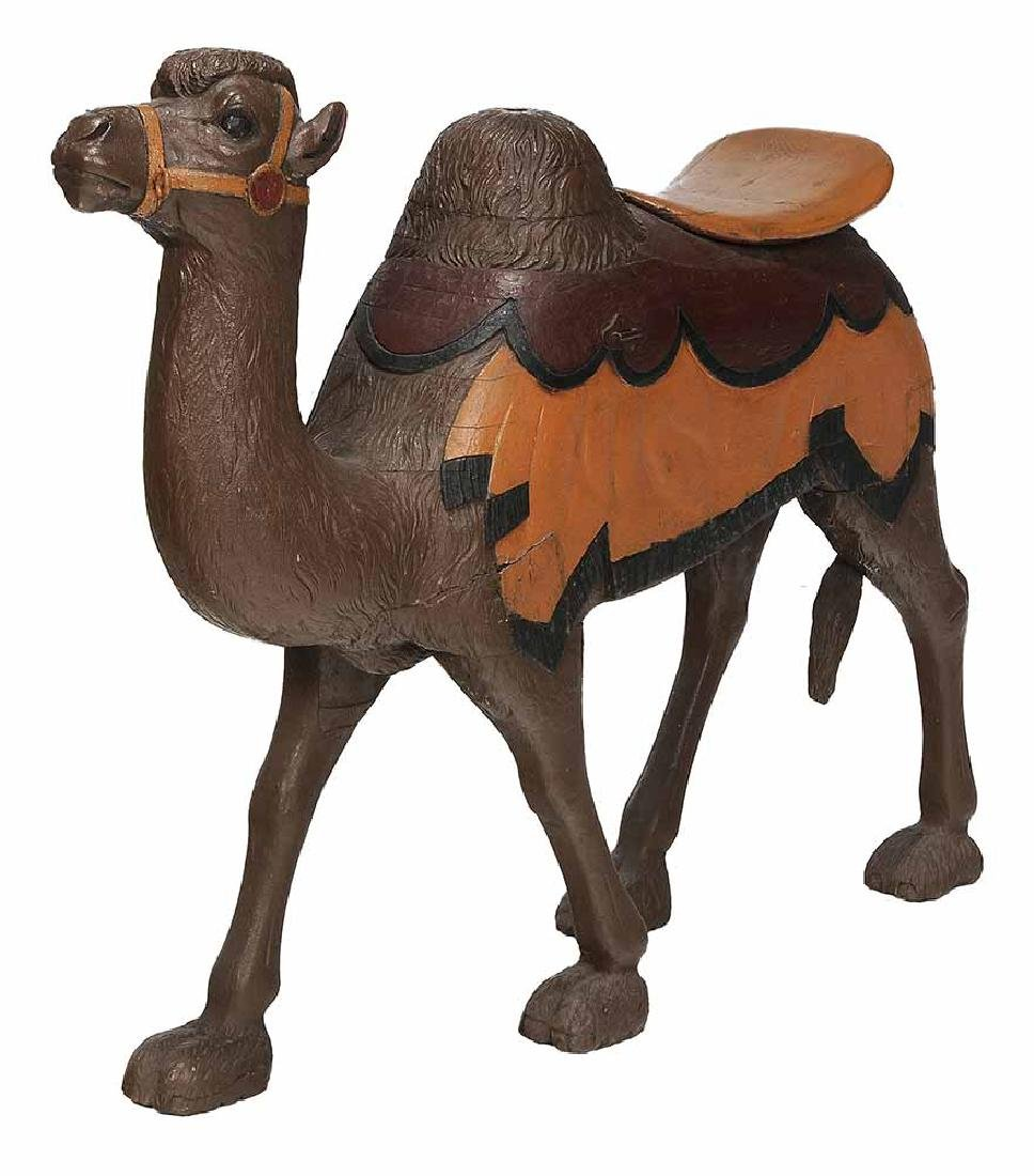 Carved and Painted Camel-Form Carousel