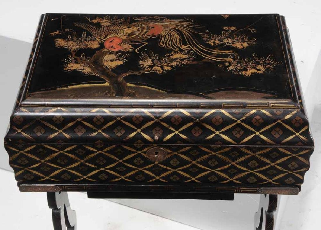Chinese Export Lacquered Lift-Top Work - 3