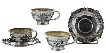 Set of Twelve Tiffany Sterling Teacups