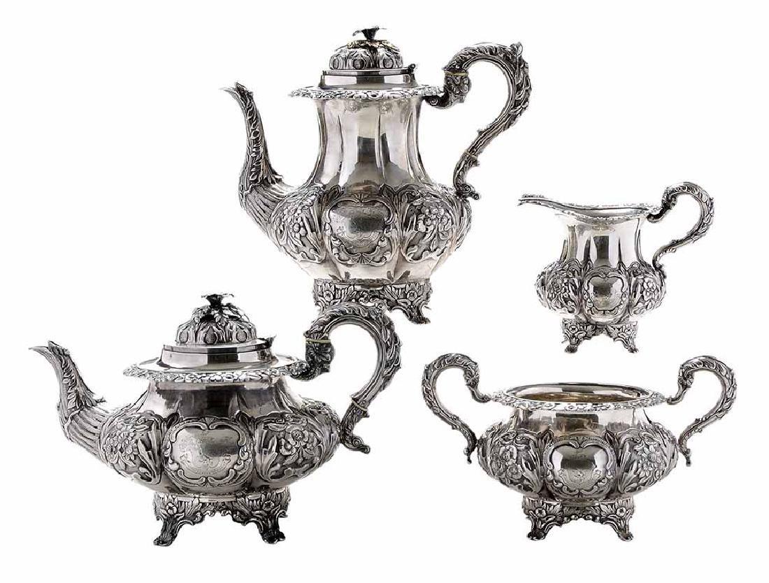 Irish Silver Four Piece Tea Service