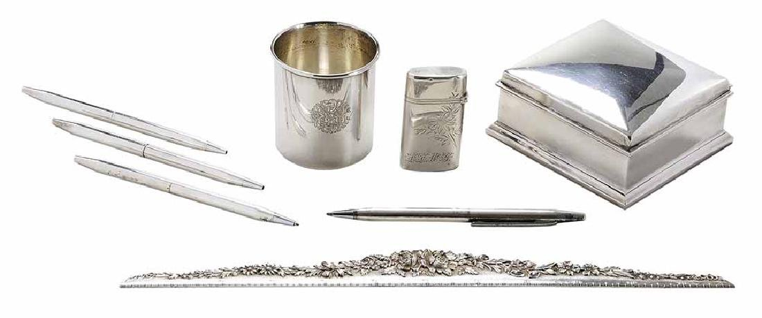 Eight Sterling Desk Items