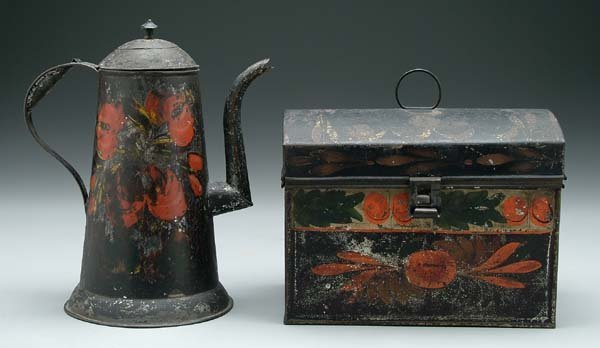 3: Toleware coffeepot and lidded box
