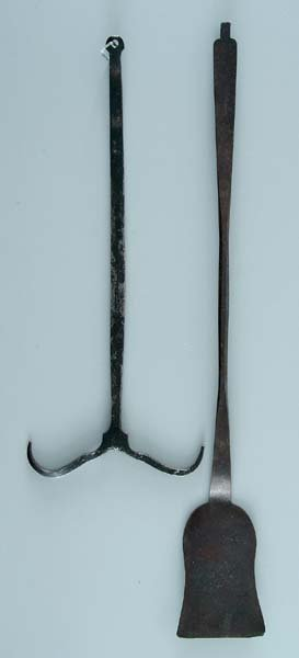 9: Two hand wrought iron implements