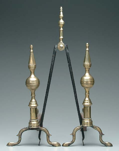 15: Pair Federal brass andirons