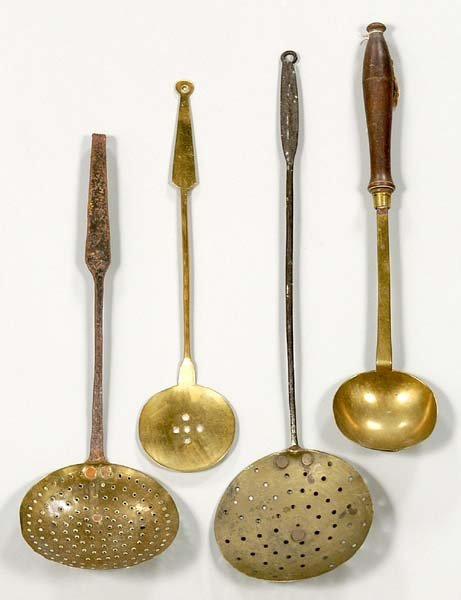 19: Four brass skimmers and ladles