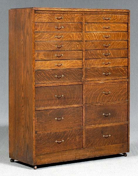 22: Oak 20-drawer collector's cabinet