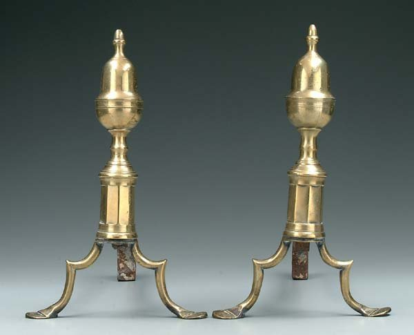 24: Pair Federal brass andirons