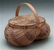 181: Cherokee lidded oak split basket