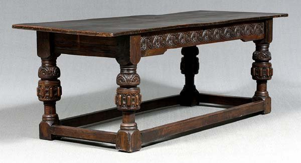 423: Jacobean carved oak refectory table