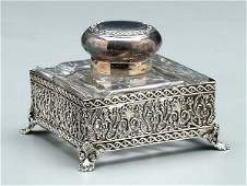 796 Silver plated and glass inkwell