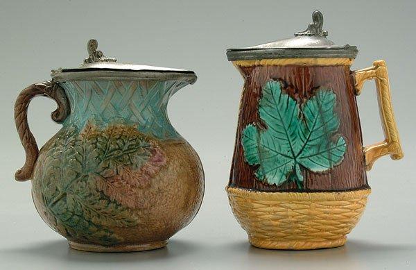 3: Two majolica lidded cream pitchers: