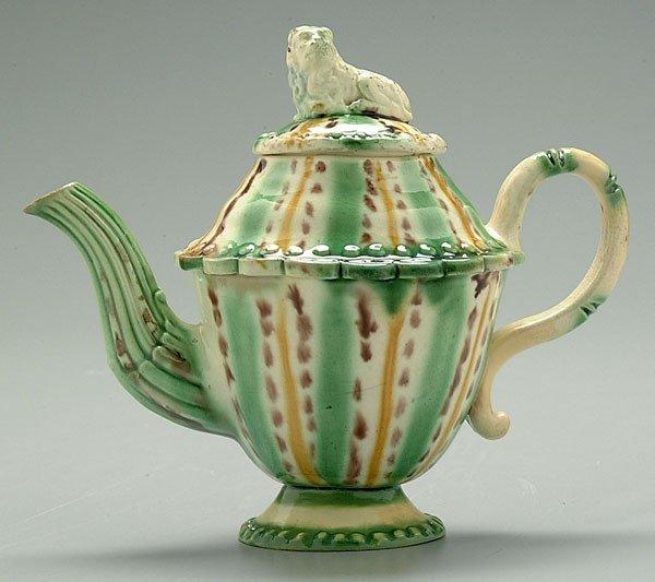 5: Whieldon tortoise ware teapot,