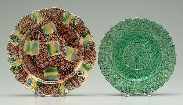 8: Two majolica plates: