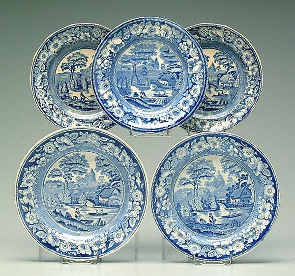 0008A: Five blue transferware plates: