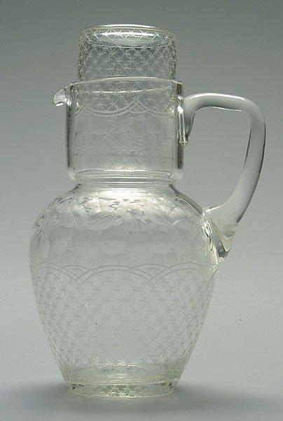 10: Fine intaglio cut pitcher and cup: