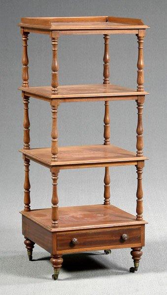 11: English four tier mahogany etagère,
