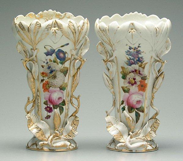 12: Pair Old Paris vases:
