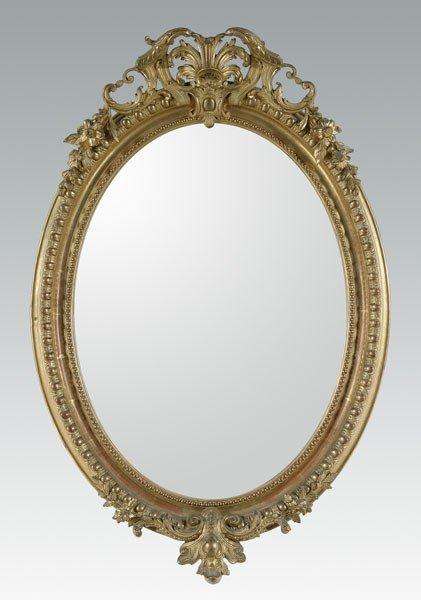 18: 19th century French gilt wood mirror,