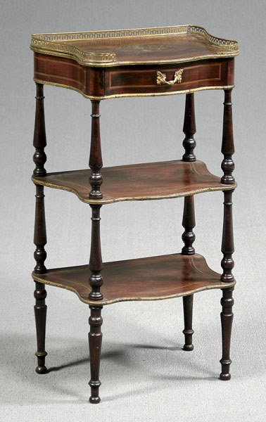 19: Brass inlaid three tier French stand,