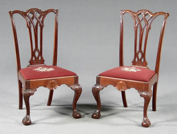 23: Pair Chippendale style side chairs,