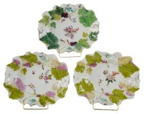 Three Chelsea Porcelain Grape-Leaf Dishes