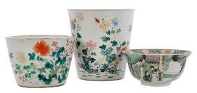 Three Pieces Famille Verte Porcelain