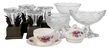 Assorted Group Eight Glass Table Items