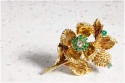 Tiffany & Co. 18kt. Emerald & Diamond Brooch