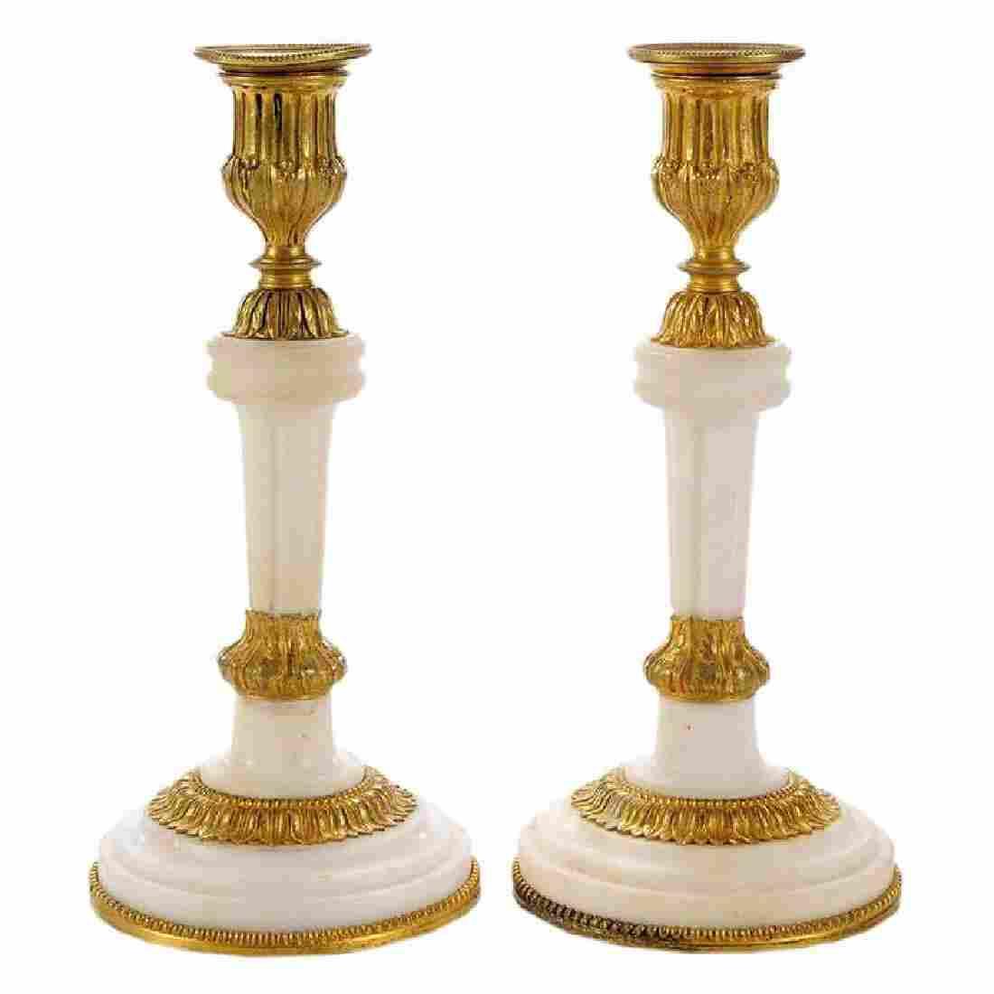 Pair Louis XVI Style Ormolu Marble Candlesticks
