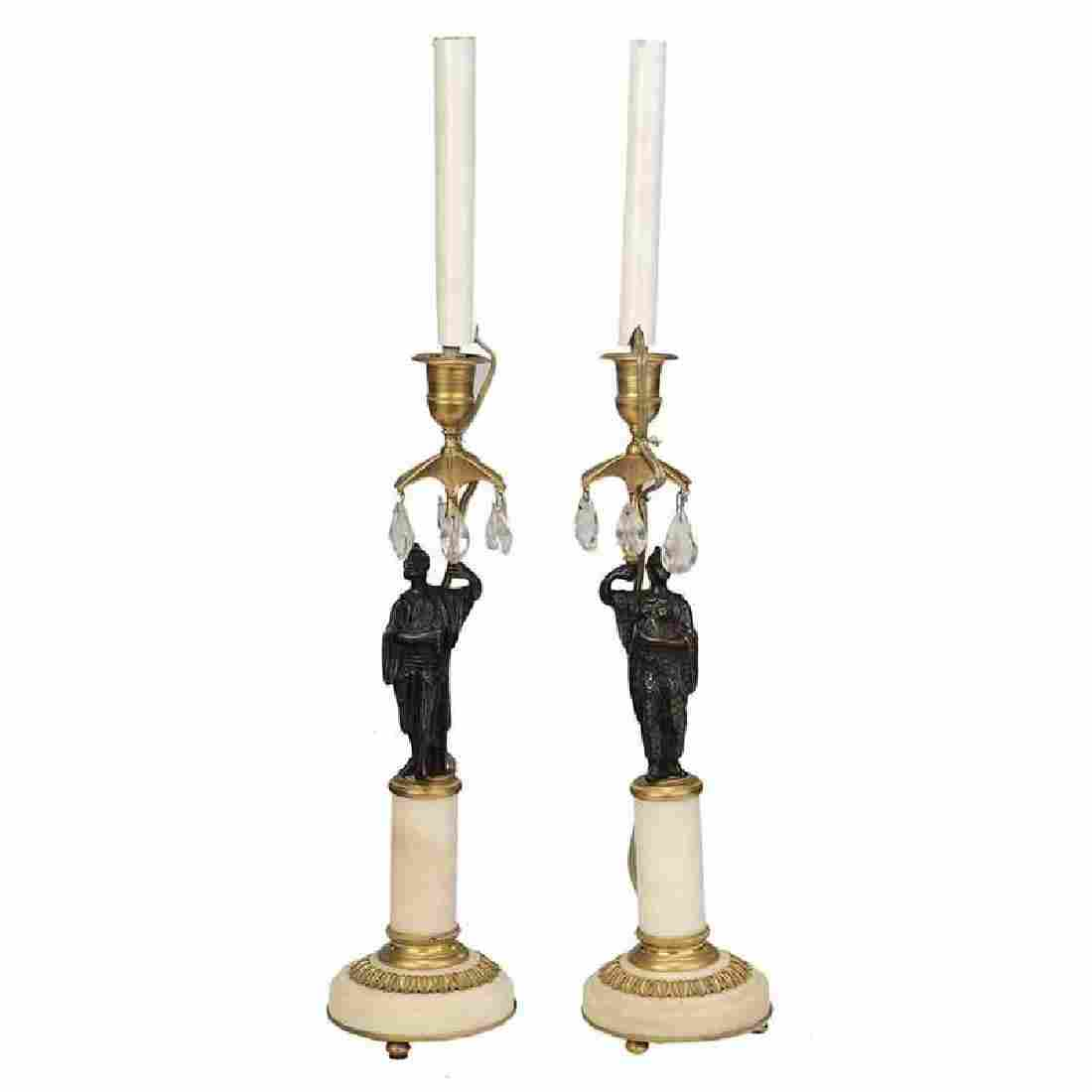 Pair Louis XVI Style Candlestick Lamps
